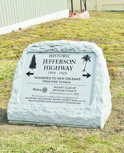 Historic Marker Placed in Downtown Leon Indicating the Jefferson Highway Ran Through Town