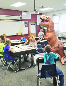 Dynomiteasurus Visits CD for 100th Day of School