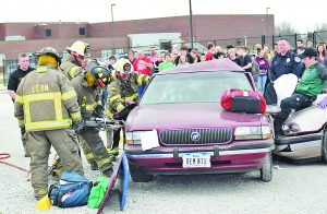 Students Watch a Mock Drunk Driver Crash Drill